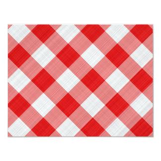 red table cloth 11 cm x 14 cm invitation card