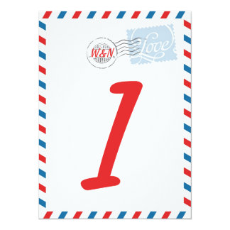 Red Table Number Card Postal Service Collection 14 Cm X 19 Cm Invitation Card