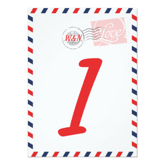 """Red Table Number Card Postal Service Collection 5.5"""" X 7.5"""" Invitation Card"""