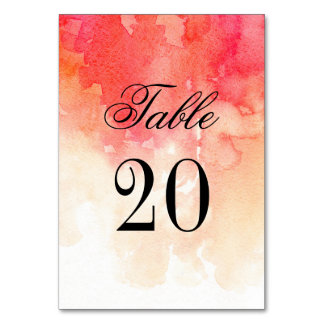 Red table number. Fall wedding. Coral autumn table Card