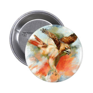 Red Tail Hawk Pinback Buttons