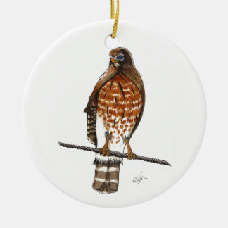 Red Tail Hawk Round Ceramic Decoration