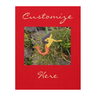 red-tail sirena mermaid wood wall art