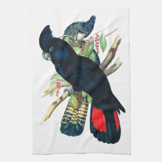 Red tailed, Black (Banksian) Cockatoos. Tea Towel