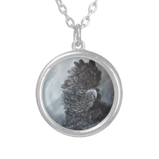 Red tailed black Cockatoo gifts for parrot lovers Silver Plated Necklace