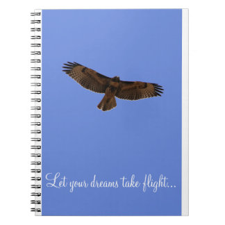 Red Tailed Hawk Dream Journal Blue Background Spiral Note Book