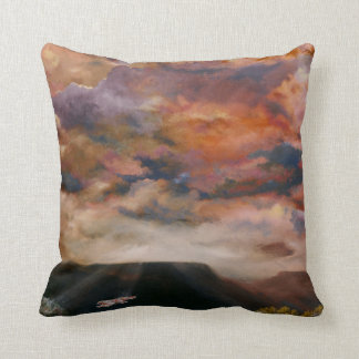 Red-tailed Hawk flying over the mesas throw pillow