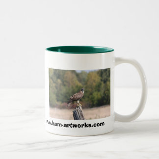 Red Tailed Hawk on fence post Mugs