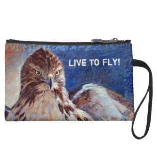 Red Tailed Hawk Suede Wristlet
