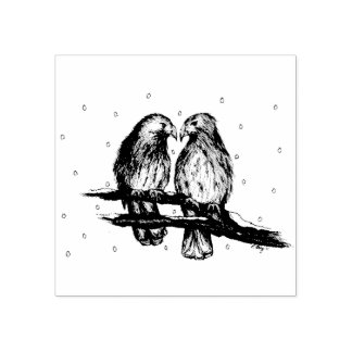 Red Tailed Hawks in Snow Love Bird Birds Stamp