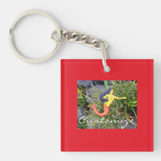 red-tailed sirena mermaid Single-Sided square acrylic key ring