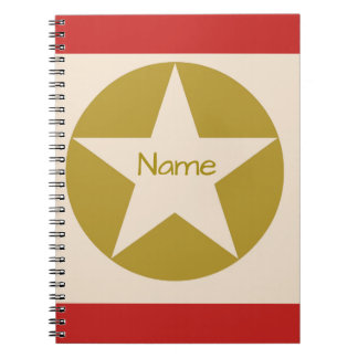 Red Tan and Gold Star in a Circle Name Notebooks