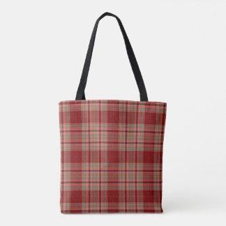 Red Tan Ecru Tartan Plaid Tote Bag