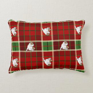 Red Tartan Bulldog Decorative Cushion