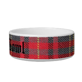 Red Tartan Personalised Dog Bowl