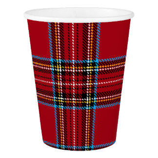 Red Tartan Plaid Paper Cup
