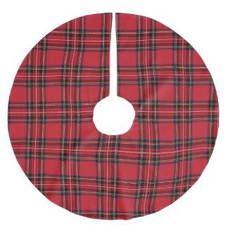 Red Tartan Plaid  Tree Skirt, Brushed Polyester Brushed Polyester Tree Skirt