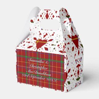 Red tartan plaid white lace heart wedding favour box