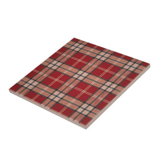 Red Tartan Small Square Tile