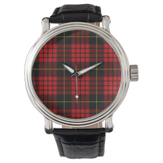 Red Tartan Vintage Black Leather Strap Watch