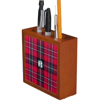 Red Tartan with (or without) Initial Desk Organiser