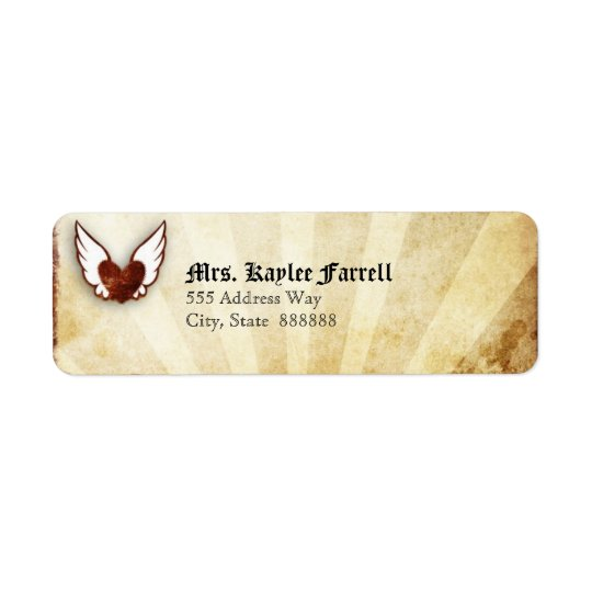 Red Tattoo Winged Heart Address Label