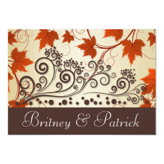 Red Taupe Brown  Fall Leaves Wedding Invitations