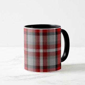 Red Taupe Grey Red Black Large Tartan Plaid Mug