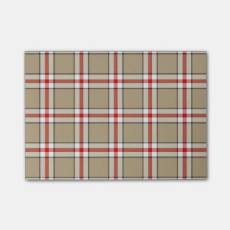 Red/Taupe Plaid Post it Notes