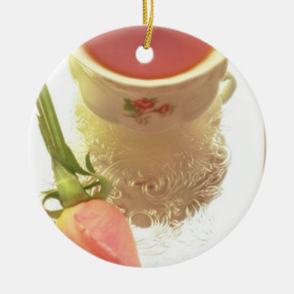 Red Tea and pink rose flowers Ornaments
