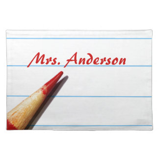 Red Teacher Pencil On Lined Paper With Name Place Mats