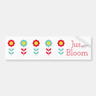 Red Teal and Yellow Flowers on White Just Bloom Bumper Sticker