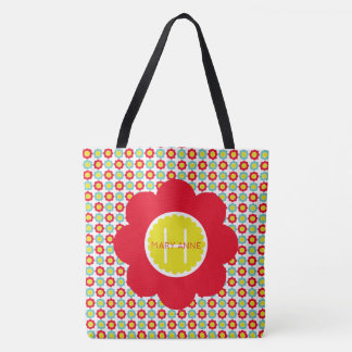 Red Teal and Yellow Flowers on White Monogram Tote Bag