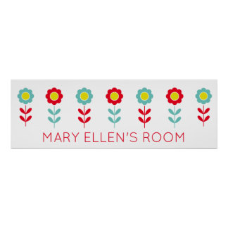 Red Teal and Yellow Flowers on White Personalized Poster
