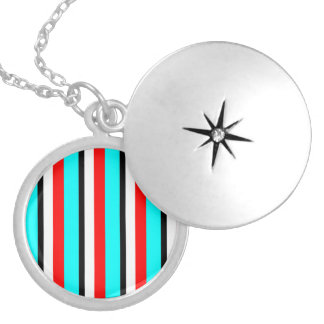 Red Teal Black White Stripe Necklace
