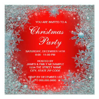 Red Teal Blue Snowflake Christmas Party Custom Announcements