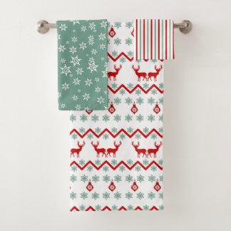 Red Teal Christmas Reindeer Nordic Pattern Bath Towel Set