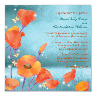 Red & Teal Dreaming Poppy Formal Floral Wedding 13 Cm X 13 Cm Square Invitation Card