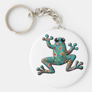 Red Teal Paisley Frog Key Ring