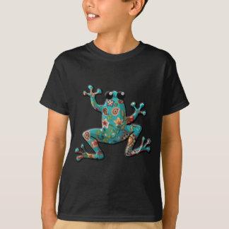 Red Teal Paisley Frog Tshirt