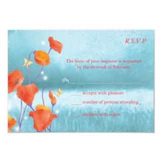 Red & Teal Poppy Floral Wedding RSVP 9 Cm X 13 Cm Invitation Card