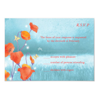 Red & Teal Poppy Floral Wedding RSVP Cards (3.5x5) 9 Cm X 13 Cm Invitation Card