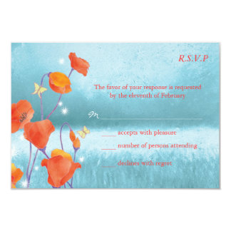 Red & Teal Poppy Floral Wedding RSVP Cards (3.5x5) Custom Announcement