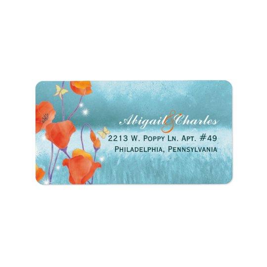 Red Teal Poppy Wedding Address Address Label