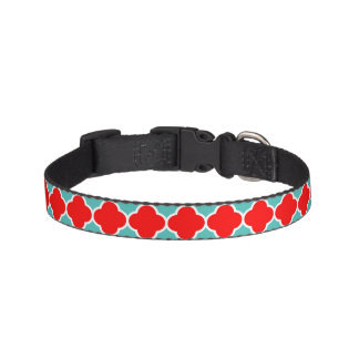Red Teal Quatrefoil Pattern Pet Collar