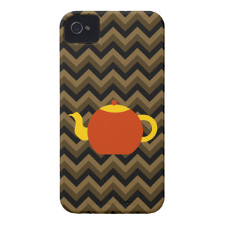 Red Teapot on Brown Zigzags. iPhone 4 Cover