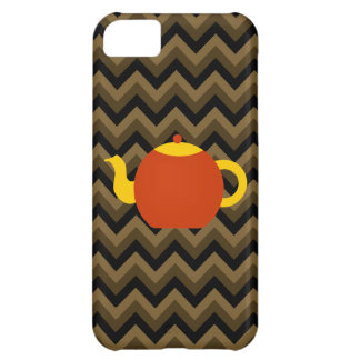 Red Teapot on Brown Zigzags. iPhone 5C Cases