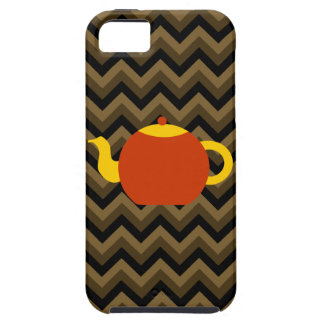 Red Teapot on Brown Zigzags. Case For The iPhone 5