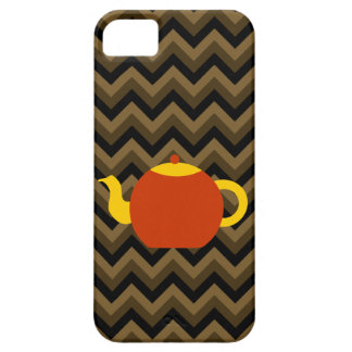 Red Teapot on Brown Zigzags. iPhone 5 Case