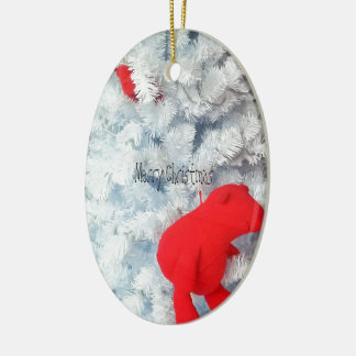 Red Teddy bear in Christmas Tree Ceramic Oval Decoration